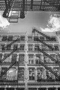 Building with fire stairs in Soho, New York City