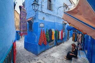 In the mountains of Morocco Chefchaouen Old city painted in blue