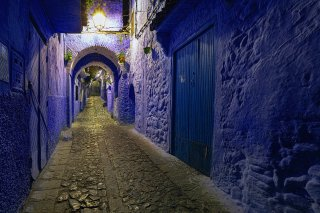 Traditional painted walls and doors known as Morocco's Blue City