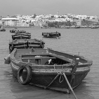 Fishing boats on the  Regreg river in the capital Rabat Morocco