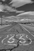 Route 66 shield painted on the road, Chambless California