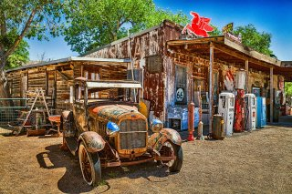 Vintage Diner, Vintage Car and Gas Pumps, Hackberry Arizona, Route 66