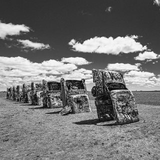 Cadillac Ranch, public art installation. Route 66 Amarillo, Texas